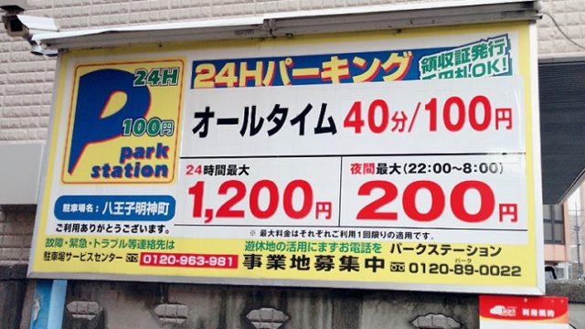 八王子駅北口駐車場 40分100円