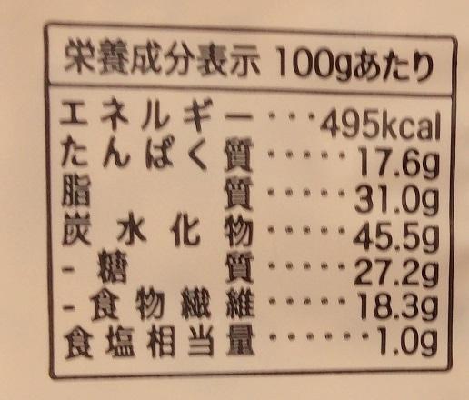 シグダル クリスブレッド グルテンフリー キヌア 栄養成分表示