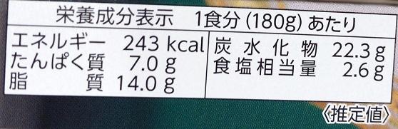 レトルト食品 グリルグランドカロリー等の栄養成分表示