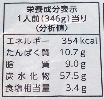 マルハニチロ 冷凍食品 五目あんかけ焼きそば 栄養成分表示