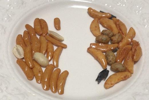 亀田の柿の種とカルディ柿の種と辛みそ大豆とパリパリ昆布