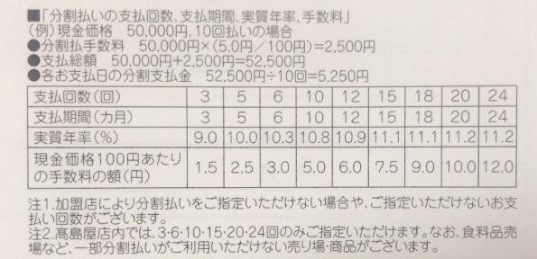 高島屋カードプレミアムの回数指定分割払いの表