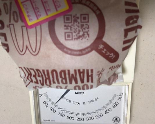 マクドナルドのハンバーガーの重さ