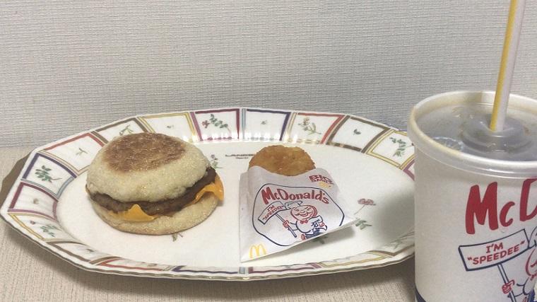 マクドナルトのソーセージマフィンセット