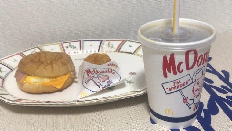 マクドナルトのベーコンエッグマックサンド セット